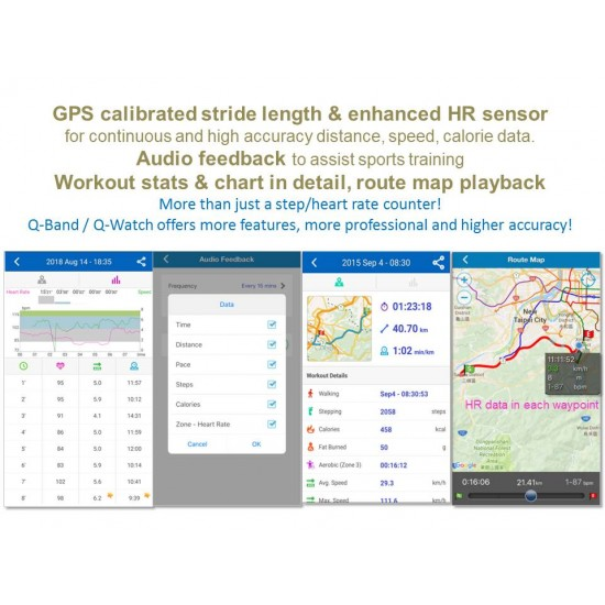 Q-Watch Q-82 Fitnesstracker Remote Care - SOS - works with Strava
