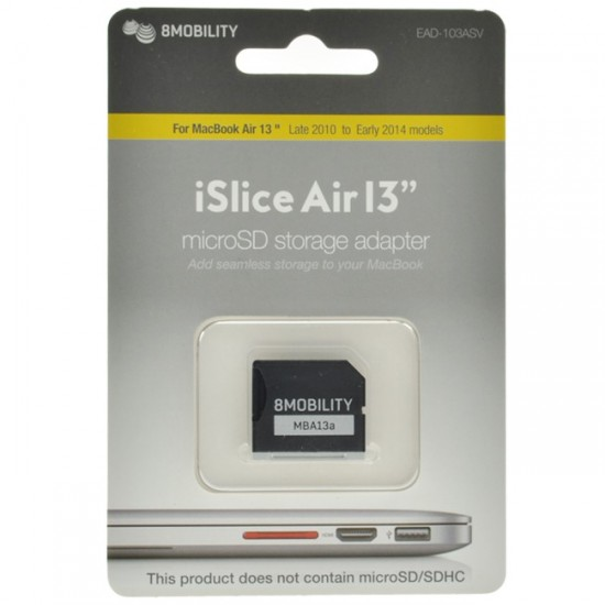 8mobility iSlice Macbook Compatible MicroSD Card Adapter Silver